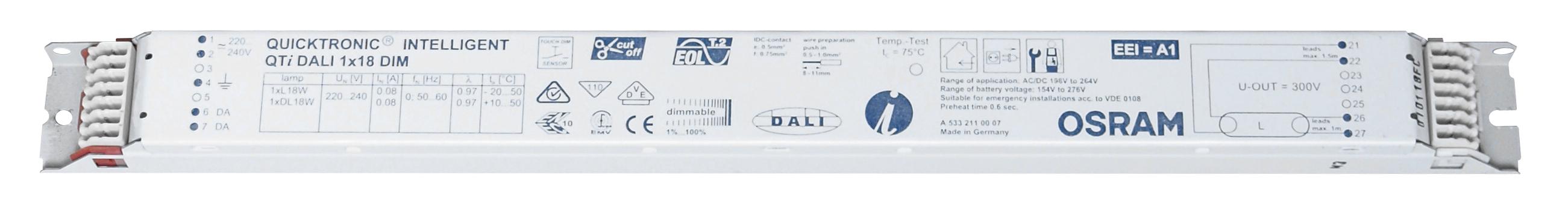 Balasturi electronice dimabil Dali, gama OSRAM23859