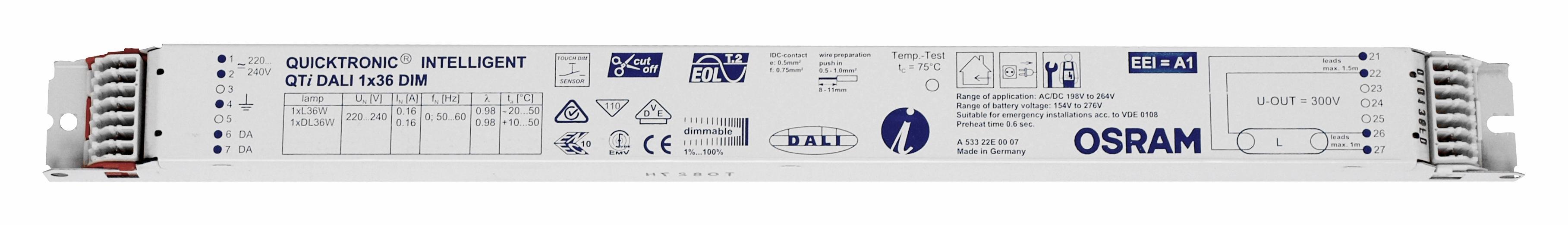 Balasturi electronice dimabil Dali, gama OSRAM23915