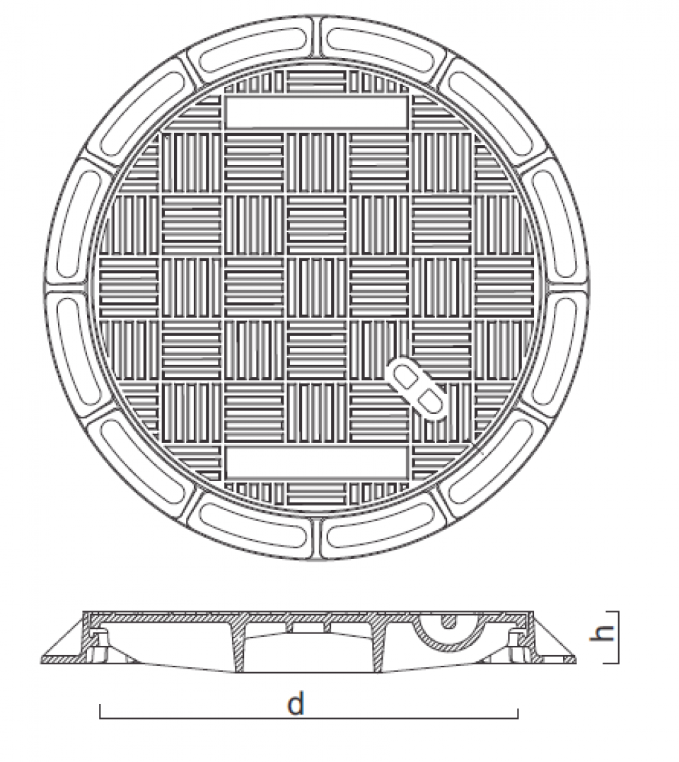 Rama si capac circular fonta Di625 250kN 6739