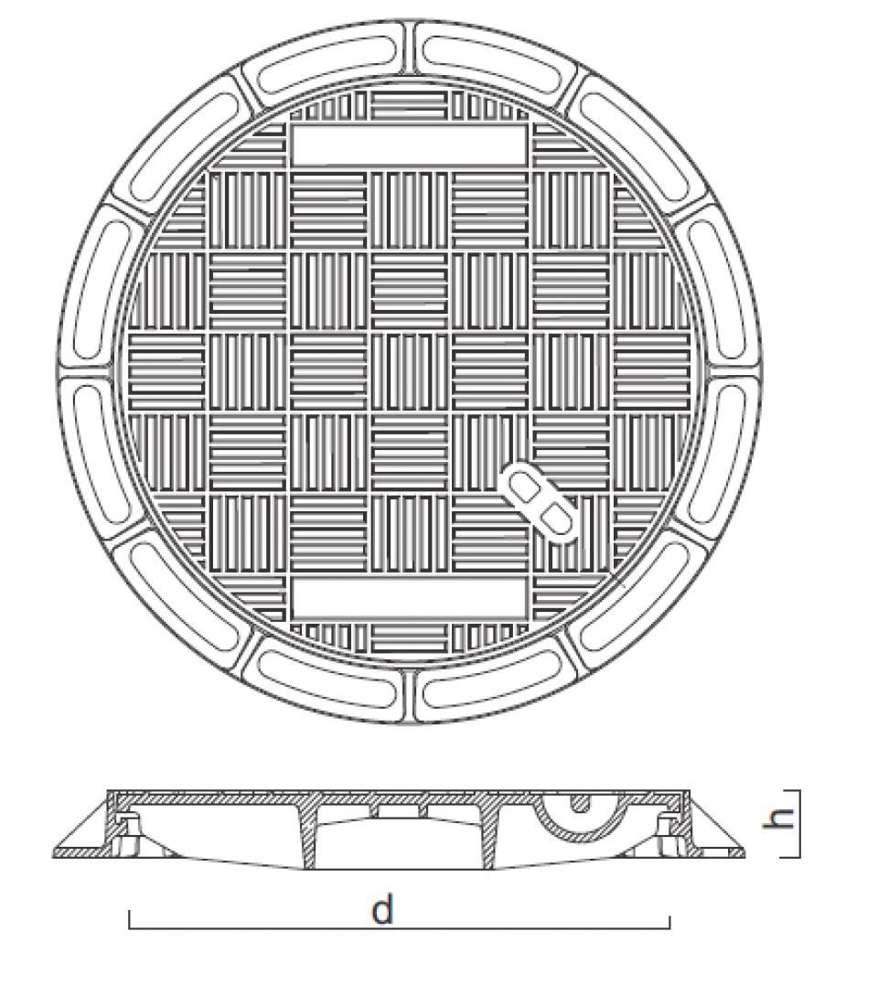 Rama si capac ventilat fonta Di625 125kN 6742