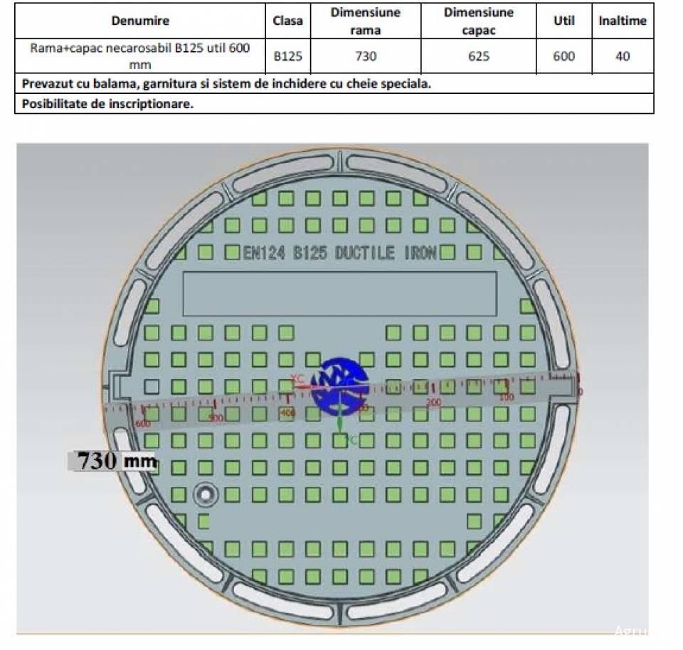 Rama si capac circular fonta Di625 125kN 52125