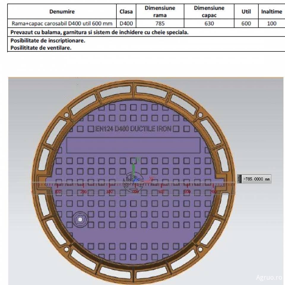 Rama si capac circular fonta Di625 400kN 52124